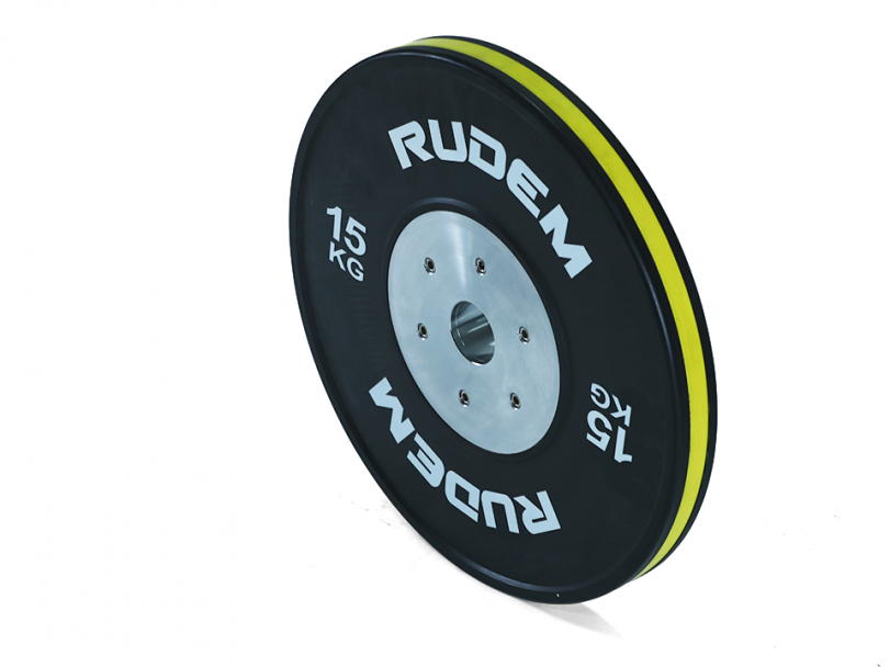 RUDEM Competition Bumpers Plates with colour strip-15KG