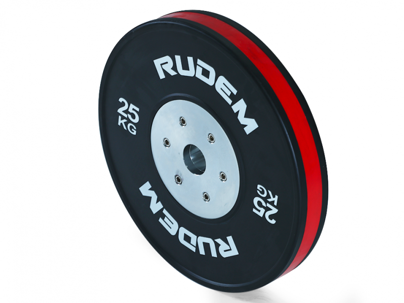 RUDEM Competition Bumpers Plates with colour strip-25KG